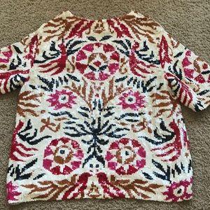 ANTIK BATIK multicolored sequin top,S/38!RARE